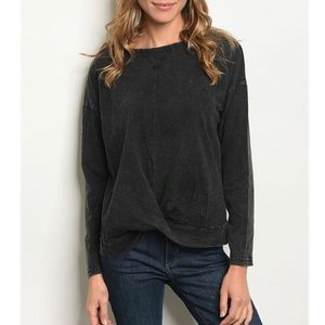 Black Wash Long Sleeve Knot Knit Top